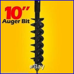 10 Skid Steer Auger Bit, McMillen HDC, For Difficult Digging, 2 Hex Drive, 6' Long
