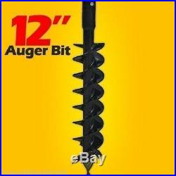 12 Skid Steer Auger Bit, McMillen HDC, For Difficult Digging, 2 Hex Drive