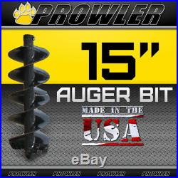 15 Auger Bit with Round Collar For Skid Steer Loaders 4' Length 15 Inch