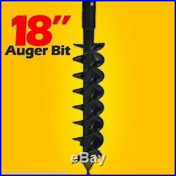 18 X 48 Auger Bit for Post Hole Auger 2 Hex Drive, For Skid Steer Loader