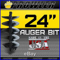 24 Auger Bit with Round Collar For Skid Steer Loaders 4' Length 24 Inch
