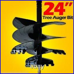 24 Tree Auger Bit for Skid Steer Loaders, Fits all 2.5 Round Auger Drives