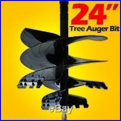 24 Tree Auger Bit for Skid Steer Loaders, Fits all 2 Hex Drive, Fits Cat, Bobcat