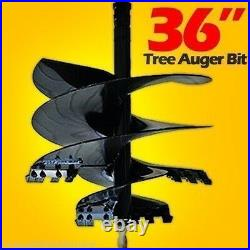 36 x 4' Skid Steer Tree Auger Bit, Uses 2 Hex Drive, Fits all brands, Made USA