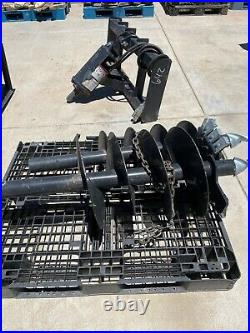 Auger drill attachments auger, two drill bore bits, fits skid steer