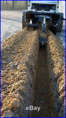 Blue Diamond Trencher Skid Steer Attachment, 48 with 12 Rock Chain & Auger