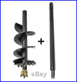 EarthOgre Skid Steer Rock Auger Bit, 15 Diameter, 2 Hex Drive with 60 Extension