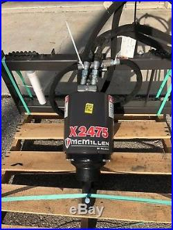 McMillen X2475 Skid Steer Auger, 3000PSI Extreme Duty, Gear Drive, with30Tree Bit