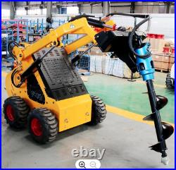 Mini wheel loader skid steer with post hole auger drilling