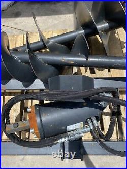 NEW SKIDSTEER HYDRAULIC AUGER POST HOLE DIGGER 12 + 18 bits SKID STEER