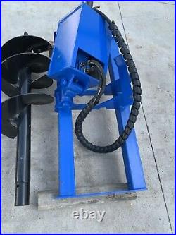 New Agrotk Skid Steer Hydraulic Auger Attachment Post Hole Digger Bobcat CAT