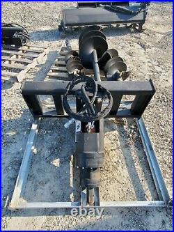 New Skid Steer Auger Drive Attachment with Three Bit Set (9 12 18 bits)