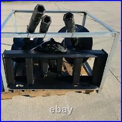 New Skid Steer Hydraulic Auger Post Hole Digger 3 Bits 9 12 + 18 Skidsteer