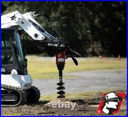 Skid Steer Auger Attachment 10-20 GPM 2 Hex with 1/2 Hoses and Mount Bobcat