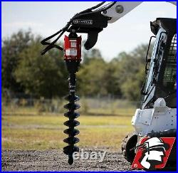 Skid Steer Auger Attachment 10-20 GPM 2 Hex with 1/2 Hoses and Mount Kubota