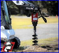 Skid Steer Auger Attachment 20-35 GPM 2 Hex with 3/4 Hoses and Skidsteer Mount