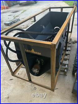 Skid Steer Auger Bucket Attachment Mixing & Discharge seed spreader fence post