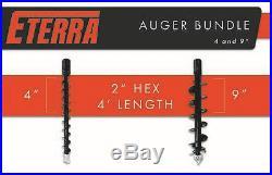 Skid Steer Auger Bundle Eterra Brand 4 & 9 Auger Bits for Excavators