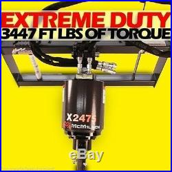 Skid Steer Auger Extreme Duty, All Gear Drive, McMillen X2475 Hex, w 9 Auger Bit