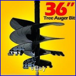 Skid Steer Tree Auger Bit 36 Width x 4', 13 Teeth, Fits All Round Auger Drives