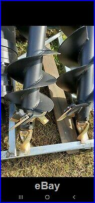Skid steer auger attachment with 3 bits